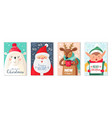 christmas cards happy merry and new vector image