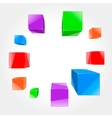 colorful cubes flying out of the center vector image vector image