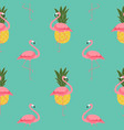 colorful pink flamingo and pineapple seamless vector image