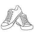 contour black and white of sneakers vector image vector image