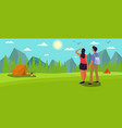 couple hiking or backpacking in forest vector image