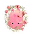 cute kids pig portrait in flowers vector image vector image