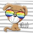cute puppy with sun glasses vector image vector image