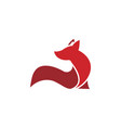 elegant red fox sitting logo template design vector image vector image