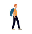 flat man tourist with travel backpack vector image vector image