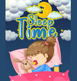 font design for word sleep time with kid sleeping vector image vector image