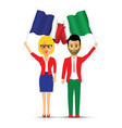 france and italy flag waving couple vector image