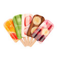 fruity popsicles assortment composition vector image vector image