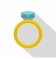 Gold ring with diamond icon flat style vector image vector image