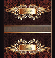 Golden royal label on damask background vector image