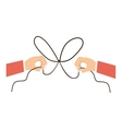 Hand and bowtie rope design vector image