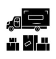 heavy goods delivery glyph icon cargo shipping vector image vector image
