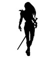 Knight woman silhouette vector image vector image
