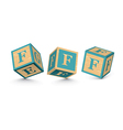 letter F wooden alphabet blocks vector image vector image
