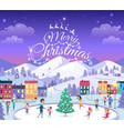 merry christmas different people on icerink vector image vector image