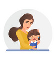 mother supporting crying little daughter flat vector image
