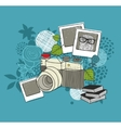 Old camera and floral background vector image