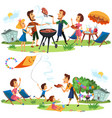 picnic friends and family nature and holiday set vector image