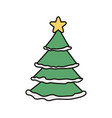 pine tree with star decoration christmas vector image vector image
