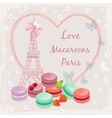 poster with french macaroon cakes and eiffel vector image
