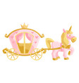 princess unicorn and carriage vector image vector image
