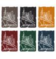 san francisco skyline grunge sticker set vector image vector image
