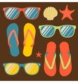 Seamless pattern with flip flops and sunglasses vector image vector image