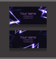 set business cards with abstract neon vector image vector image