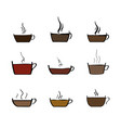 set of coffee and tea cup sketchy icons vector image