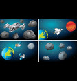 set space scenes with ships and satellites vector image