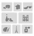 set with french icons vector image vector image