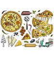slice of pizza with cheese yummy italian vector image vector image