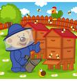 teddy bear beekeeper keeps bee smoker vector image