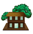 two-stories house made of wood vector image vector image