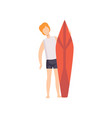 young man standing with surfboard young man vector image vector image