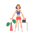 young woman exercising with dumbbells at home vector image vector image