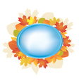 blue oval frame with autumn leaves vector image