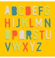 Handmade color paper crafting alphabets vector image