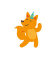 flat cartoon cheerful fox character dancing vector image