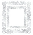 silver frame floral ornament vector image