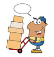 african american delivery man cartoon character vector image vector image