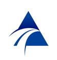 blue swoosh cross unique triangle symbol logo vector image vector image