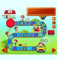 boardgame template with kids playing vector image vector image