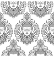 Buddha Head and Lotus Seamless Pattern vector image vector image