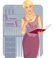 Business woman with journal near desk vector image