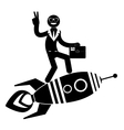 Businessman on a rocket pointing and showing vector image vector image
