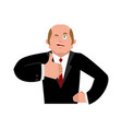 businessman winks and thumb up shows well sign is vector image vector image
