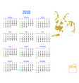 calendar for 2018 year 2018 chinese new year of vector image