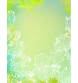 Card with iris flowers on green watercolour vector image