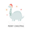 christmas dino in scarf and santa hat vector image vector image